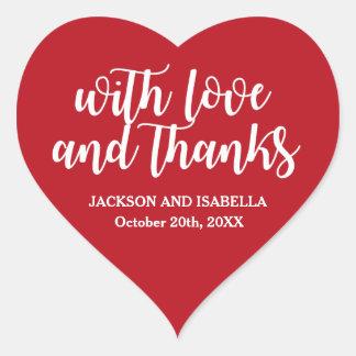 Sticker Cœur Joints rouge foncé de faveur de mariage de coeur