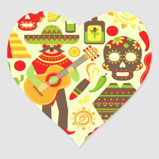 Sticker Cœur Jour mexicain du Mexique mort