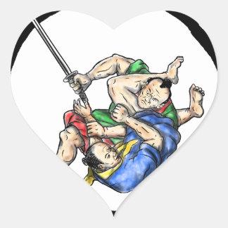 Sticker Cœur Judo samouraï de Jui Jitsu combattant le tatouage