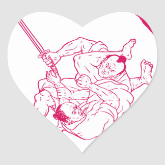 Sticker Cœur Jui samouraï Jitsu combattant le dessin d'Enso