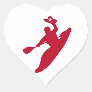 Sticker Cœur Kayak de rodéo
