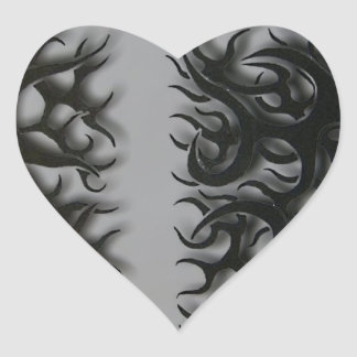 Sticker Cœur kreutz flame noirs