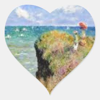 Sticker Cœur La falaise de Pourville de Claude Monet