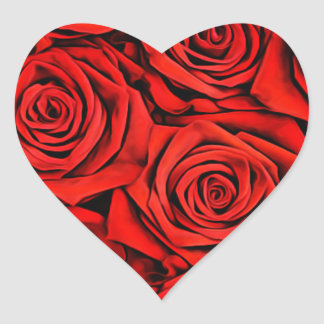 Sticker Cœur La fleur florale de pétales de roses rouges plante