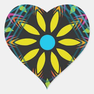 Sticker Cœur La fleur jaune s'est fanée les diamants bleus