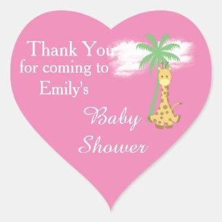 Sticker Cœur La girafe rose de baby shower vous remercient des
