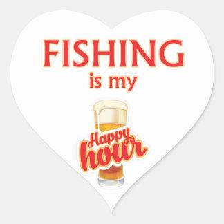 Sticker Cœur La pêche est mon heure heureuse