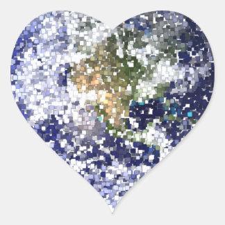Sticker Cœur la terre de cube