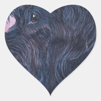 Sticker Cœur Labradoodle noir