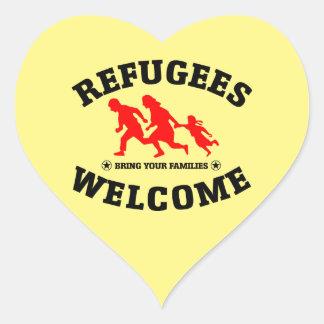 Sticker Cœur L'accueil de réfugiés amènent vos familles