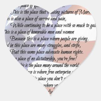 Sticker Cœur L'affiche d'art de poésie de drapeau des
