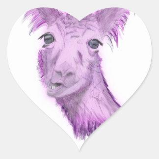 Sticker Cœur Lama snob rosâtre