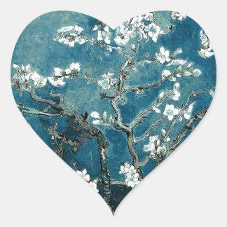 Sticker Cœur L'amande de Vincent van Gogh fleurit Teal foncé