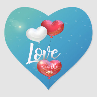 Sticker Cœur L'amour est dans les ballons de Valentine d'air -