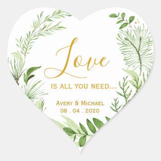 Sticker Cœur L'amour vert de guirlande de laurier est tout que