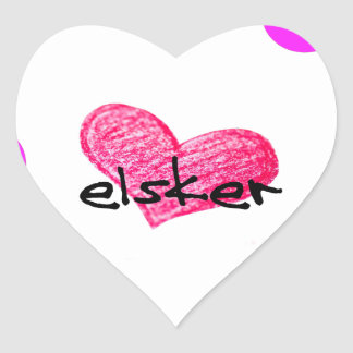 Sticker Cœur Langue danoise de conception d'amour