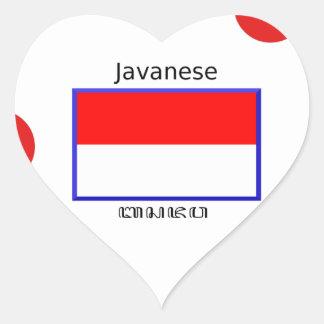 Sticker Cœur Langue de Javanese et conception indonésienne de