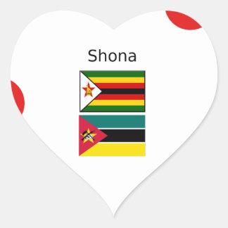 Sticker Cœur Langue de Shona et drapeaux du Zimbabwe et de la