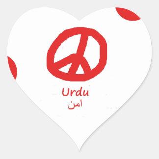 Sticker Cœur Langue d'Urdu et conception de symbole de paix