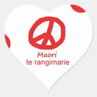 Sticker Cœur Langue et conception maories de symbole de paix