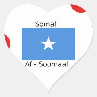 Sticker Cœur Langue somalienne et conception de drapeau de la