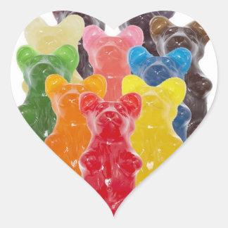 Sticker Cœur l'arc-en-ciel colore l'ours gommeux d'amant de