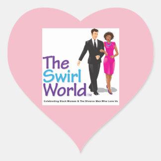 Sticker Cœur L'autocollant de logo du monde de remous