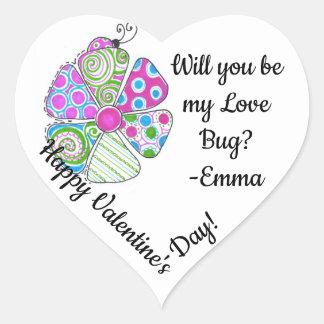 Sticker Cœur L'autocollant de Valentine d'insecte d'amour