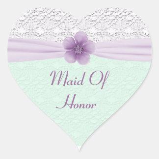 Sticker Cœur Lavande romantique de vert de menthe de fleur de