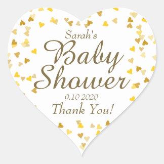 Sticker Cœur Le baby shower d'or de coeurs/arrosent la faveur