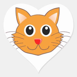Sticker Cœur Le chat orange au nez rouge