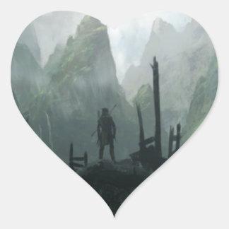 Sticker Cœur Le dernier guerrier du clan de montagne