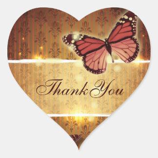 Sticker Cœur le mariage de automne romantique de papillon vous