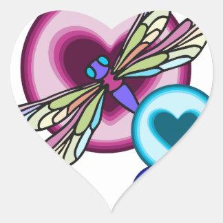 Sticker Cœur Le pastel a coloré la libellule avec rose bleu et