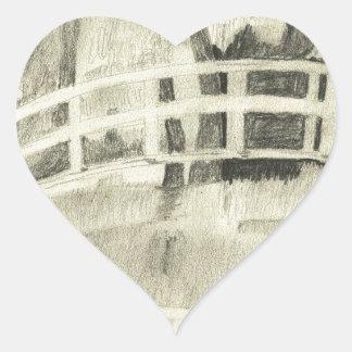 Sticker Cœur Le pont japonais de Monet noir et blanc