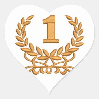 Sticker Cœur le premier - l'imitation de la broderie de machine