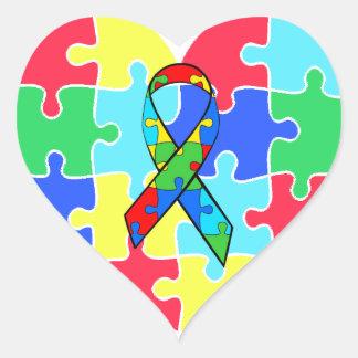 Sticker Cœur Le puzzle de coeur d'autisme rapièce l'autocollant