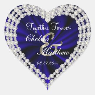 Sticker Cœur Le satin   de bleu marine de jour du mariage