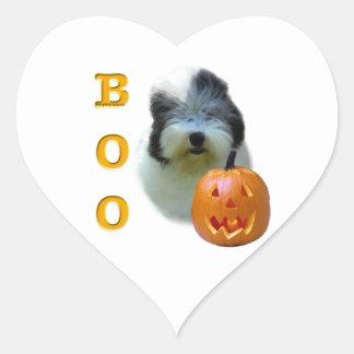 Sticker Cœur Le vieux chien de berger anglais Halloween huent