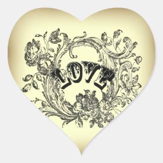 Sticker Cœur le vieux flourish chic de Bohème de mode