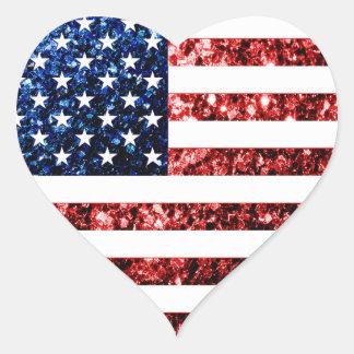 Sticker Cœur Les Etats-Unis marquent le rouge et le bleu