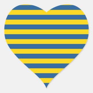 Sticker Cœur Les lignes de rayures de drapeau de la Suède