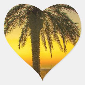 Sticker Cœur Lever de soleil de palmier