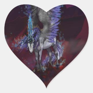 Sticker Cœur Licorne bleue de blanc de poney de cheval à ailes