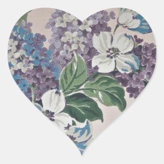 Sticker Cœur Lilas sur le papier peint vintage