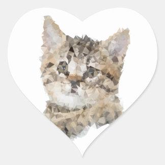 Sticker Cœur Low poly chaton