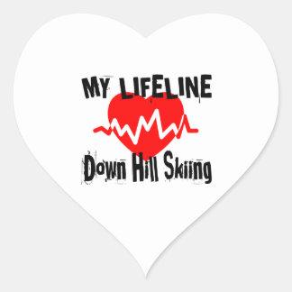 Sticker Cœur Ma ligne de vie vers le bas ski de colline folâtre
