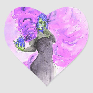 Sticker Cœur Magie pourpre