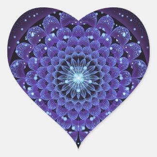 Sticker Cœur Mandala bleu électrique concordant de fleur de