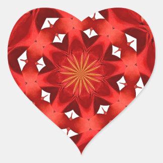 Sticker Cœur Mandala rouge de camélia